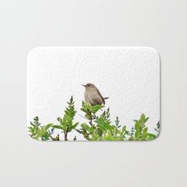 Wren Songbird Bird on a Branch (Troglodytes) Bath Mat