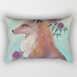 Fox in Flowers Rectangular Pillow