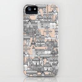 Paris toile sugar pink iPhone Case