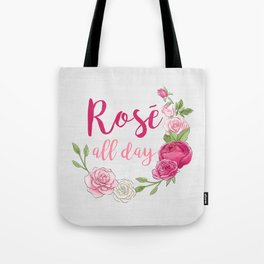 Rose All Day - White Wood Tote Bag