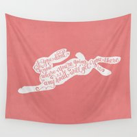 alice in wonderland Wall Tapestries featuring Alice in wonderland - pink by Drivis