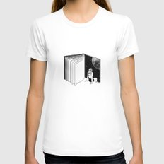 Reading is Dreaming with Your Eyes Open MEDIUM White Womens Fitted Tee