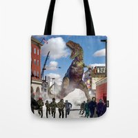 dinosaur Tote Bags featuring Dinosaur by Beery Method