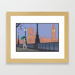 Woman With Umbrella In London Framed Art Print