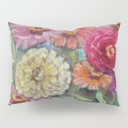 Autumn FLOWERS in the garden Still Life Pastel drawing Pink Purple Decorative Painting Pillow Sham