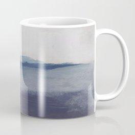 Plum Purple Navy Lavender Blue Abstract Painting Wall Art Prints, Ocean Waves Horizon, Modern Wall Coffee Mug