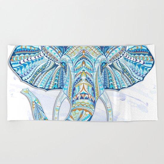 Blue Ethnic Elephant Beach Towel