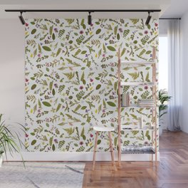 Greenery Floral Pressed Flowers Wall Mural