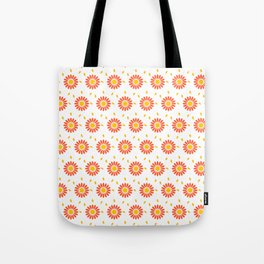 Modern orange yellow hand painted floral pattern Tote Bag