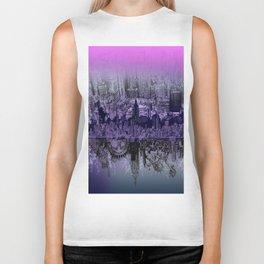 New York skyline drawing collage purple Biker Tank
