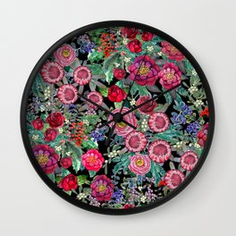 fall burgundy flowers and berries, autumn / winter, holiday botanical Wall Clock