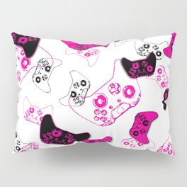 Video Game White & Pink Pillow Sham