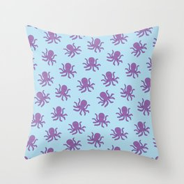 Friendly Octopus // Blue Pattern Throw Pillow