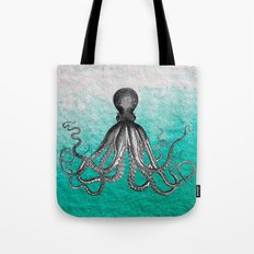 Antique Nautical Steampunk Octopus Vintage Kraken sea monster ombre turquoise blue pastel watercolor Tote Bag
