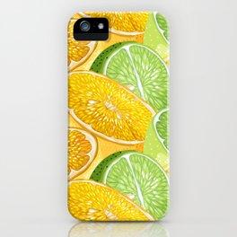 Citrus juicy slice pattern with fruit halves iPhone Case