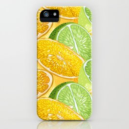 Citrus juicy slice pattern with fruit halves iPhone Case