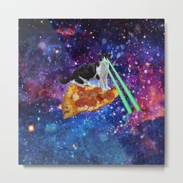 Galaxy Laser Beam Eyes Cat on Pizza Metal Print