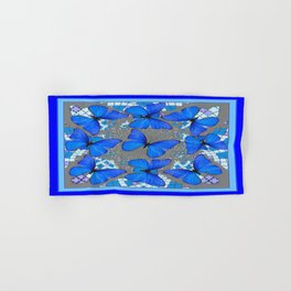Decorative Blue Shades Butterfly Grey Pattern Art Hand & Bath Towel
