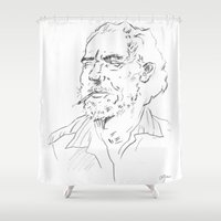bukowski Shower Curtains featuring Charles Bukowski Portrait by Aliki Pdt