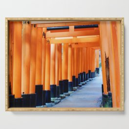 The Orange Torii Gates at Fushimi Inari Taisha, Kyoto Serving Tray