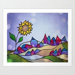 my little village and its sun -2- Art Print
