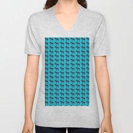 Blue Zebra Design Unisex V-Neck