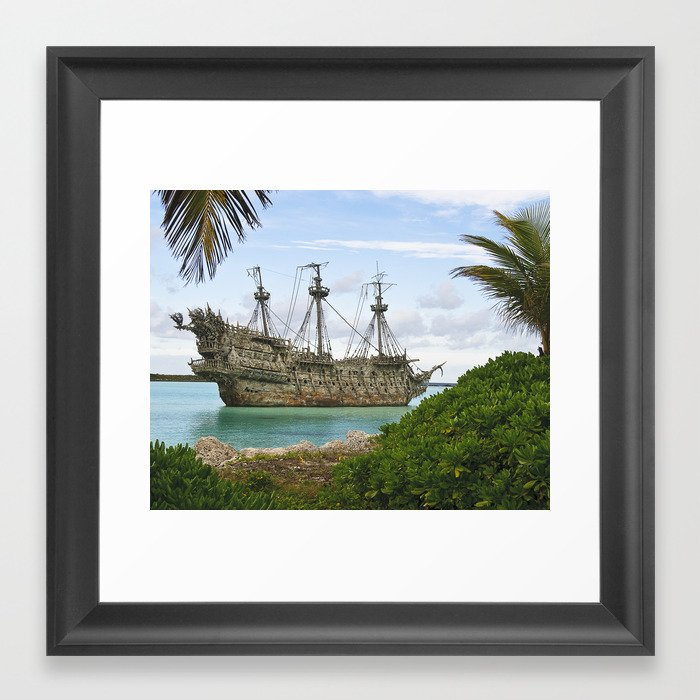 Pirate Ship In The Caribbean Framed Art Print By Daylightmagicstudio