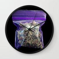 cannabis Wall Clocks featuring gram of cannabis by HiddenStash Art