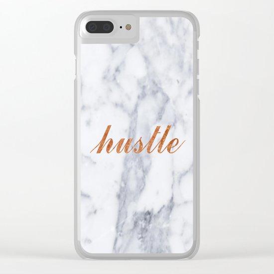 Hustle Marble Brass Copper Bronze Clear iPhone Case