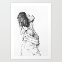 lady Art Prints featuring Pretty Lady Illustration by Olechka
