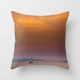 Yacht sailing towards Catalina Island Throw Pillow