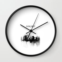 Oakland Black and White Skyline poster Wall Clock