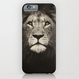 Beautiful monochrome lion face on dark background. Powerful calm and confident maned male lion. iPhone Case