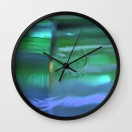 Glass Abstract in Blue and Green Wall Clock