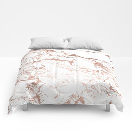 Modern chic faux rose gold white marble pattern Comforters