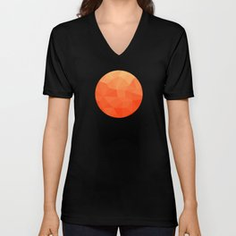 Abstract Geometric Gradient Pattern between Pure Red and very light Orange Unisex V-Neck
