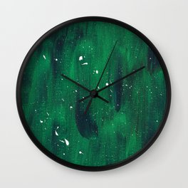 Green and Blue Splatter Wall Clock