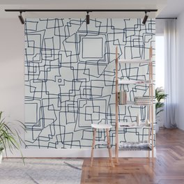Decorative blue and white abstract squares Wall Mural