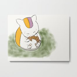 Fish-loving Anime Cat Metal Print