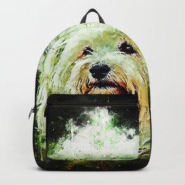 hairy havanese dog splatter watercolor Backpack