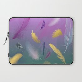 Dancing Feathers - Pink and bottle green shades with gold details Laptop Sleeve