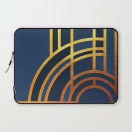 Art Deco Morning Sun In Navy Blue Laptop Sleeve