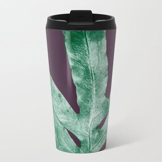 Green Fall Fern Purple Metal Travel Mug