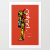 metroid Art Prints featuring Metroid by Slippytee Clothing