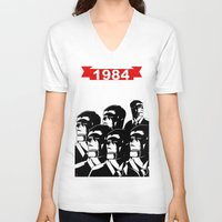 1984 V-neck T-shirts featuring 1984 by It's Mandra™