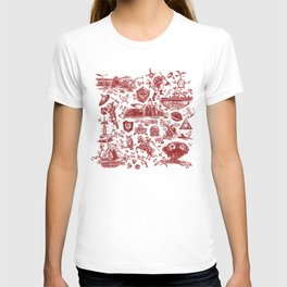 "Zelda ""Hero of Time"" Toile Pattern - Goron's Ruby T-shirt"