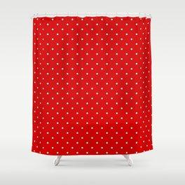 Medium White on Red Polka Dots Shower Curtain