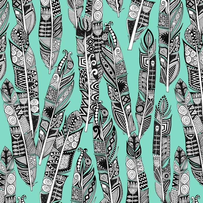geo feathers mint Comforters