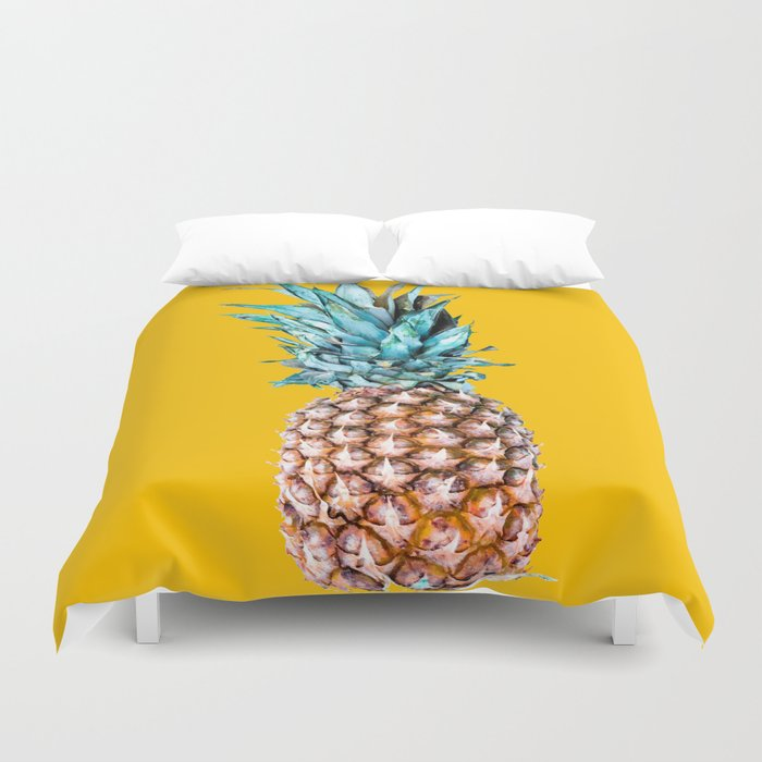 Pineapple Ananas On A Yellow Mellow Background #decor #society6 #buyart Duvet Cover