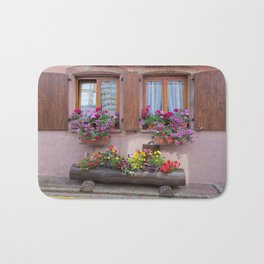 Two Windows and Colorful Flowers Bath Mat